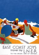 East Coast Joys No 2 - Sun-bathing. LNER Vintage Travel Poster by Tom Purvis. 1931